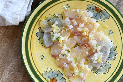 鯛と柚子白菜漬けのカルパッチョ